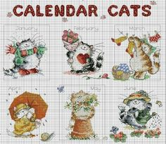 Margaret Sherry Calendar Cats 1/2 | Cross Stitch Seasons