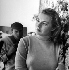 Ingrid Bergman on set of the Roberto Rossellini directed film 'Stromboli. Co-star Mario Vitale is seen in the background - (Gordon Parks—The LIFE Picture Collection/Getty Images) Gordon Parks, Ingrid Bergman, Roberto Rossellini, Isabella Rossellini, Stockholm, Pier Paolo Pasolini, Chelsea, Swedish Actresses, Mario