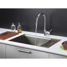 "Ruvati 32"" x 19"" Kitchen Sink with Faucet"