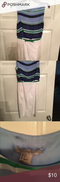 H&M Striped Dress Blue + Green + White - this was a perfect work dress - Bottom fits like a pencil skirt and hits right above the knee - cute green belt to synch the waist H&M Dresses Midi