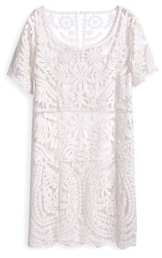 Beautiful White Short Sleeve Embroidery Sheer Lace Dress