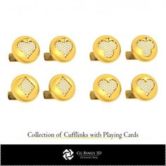 CAD Collection of Cufflinks with Playing Cards Cad Services, 3d Cad Models, 3d Printer, Jewelry Collection, Cufflinks, Playing Cards, Collections, Playing Card Games, Wedding Cufflinks