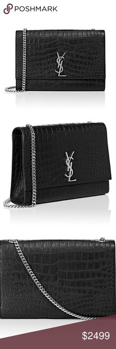 """New Authentic Saint Laurent Monogram Kate Bag New Saint Laurent Monogram Kate Large Chain Bag    Saint Laurent's Monogram Kate large chain bag is composed of matte black crocodile-stamped leather. This style features the initials of house founder Yves Saint Laurent in a logo designed for the brand by the artist Cassandre in 1961.    Signature metal YSL logo at flap front. Gusseted sides. Polished silvertone hardware. Lined with black faille. Curb-chain strap. Magnetic snap closure. 7.5""""…"""