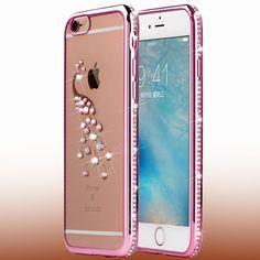Luxury Rhinestone Silicon Case For iPhone 5 5S SE 6 6s Plus Bling Diamond Coque…
