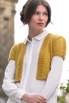 Free Knitting Pattern for Butterscotch Bolero - Cropped cardigan with short  sleeves and ribbed trim. 2b8ec6700