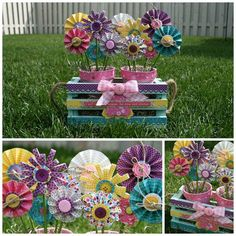 Altered flower pots-I LOVE this-what a fun little project to do with my five year old daughter!