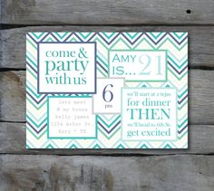 Chevron Stripe Fiesta Party Invite DIGITAL FILE. $14.00, via Etsy.