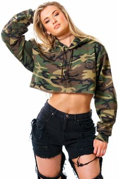$70Solid COAL N TERRY logo camo cropped hoodie. Pair these bad boys with our distressed cutoffs and sky high platforms. Model is wearing size Small Runs true to size