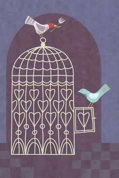 birds and bird cages are motifs I like!