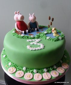 Here's a cake we made for Scarlett, who loves jumping in muddy puddles like Peppa! Hand modelled characters of Peppa and George sitt. Peppa Pig Birthday Cake, 3rd Birthday, Cake Images, Fondant Figures, Cupcakes, Candy, Desserts, Pig Cakes, Food