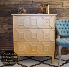 Metallic Gold Honeycomb Dresser - such a fun and beautiful IKEA Tarva Hack!!  Yes this started as a plain IKEA dresser and with a little elbow grease, I turned it into this beautiful art decor inspired dresser!