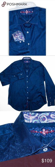 Robert Graham button up shirt blue Paisley print Robert Graham button up shirt blue Paisley print 2XL flip cuffs Robert Graham Shirts Casual Button Down Shirts