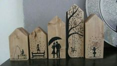 Wooden Art, Wooden Crafts, Diy And Crafts, Arts And Crafts, Clay Houses, Miniature Houses, Small Wood Projects, Craft Projects, Christmas Blocks