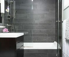 Small Bathroom Showers - like this tub and door combo - same combo but use marble tile and dark wood vanity with white sink