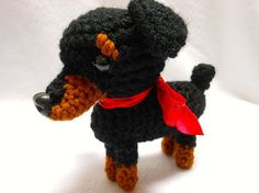 Small Doberman Dog Crocheted in Black and Reddish by KatesCache, $14.00