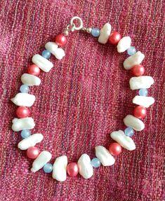 Multi-coloured Pearl and Blue Quartzite bracelet Pearl Ring, Pearl Bracelet, Pearl Jewelry, Sterling Silver Jewelry, Gemstone Jewelry, Beaded Necklace, Beaded Bracelets, Nautical Bracelet, Pearl Color