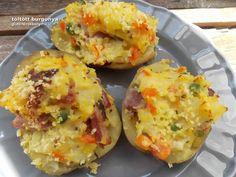 Zöldségekkel és a sonkával töltött burgonya | olcsó gluténmentes receptek Baked Potato, Potatoes, Baking, Ethnic Recipes, Bread Making, Patisserie, Potato, Backen, Baked Potatoes