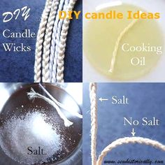 candle making business Did you know that you can make DIY candle wicks with things you already have at home? All you need is cotton string, vegetable oil and salt. Diy Candle Wick, Diy Candles Easy, Candle Craft, Homemade Candles, Beeswax Candles, Soy Candles, Candle Wicks, Candle Wax, Aromatherapy Candles
