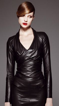 Stretch leather wrap top with black leather skirt. Black stretch leather fabric: http://www.mjtrends.com/products.Stretch-Black,Faux-Leather,Fabric