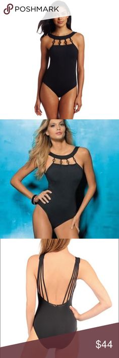 High neck one piece swimsuit! New w/ tags stunning black one piece! High neck with gorgeous wood rings around the neckline! Skinny strap details on the lower cut back! Fits more like a 6! Jantzen Swim One Pieces