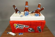 30th birthday cake ideas for men (only change it out to a Houston Texans themed ice chest)
