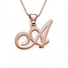 Classic Personalized Initial Necklace in Rose Gold - $80