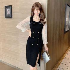 Korean Fashion, Mens Fashion, Fashion Outfits, Anime Girl Dress, Tuxedo Dress, Korean Dress, Mesh Dress, How To Look Pretty, Korean Girl