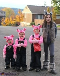Natassja: The Three Little Brother Pigs and their Big Wolf Sis!!!! We started planning this costume idea a year ago and have been putting together different outfits pieces that we have...