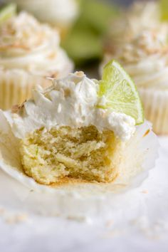 A dessert inspired by spring, these Coconut Lime Cupcakes are filled with bright and tropical flavors. The cupcakes are light and fluffy and the frosting has just the right amount of sweetness. Decorate these finished cupcakes with a little toasted coconut and a lime wedge!