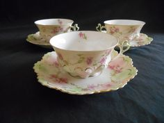 Altrohlau MZ Austria Set of 3 Cups Saucers Gold Pink Roses Green
