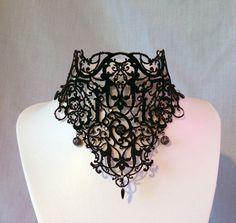 Charred Choker 'Coal' Black Velvet by DuskravenCostumerie