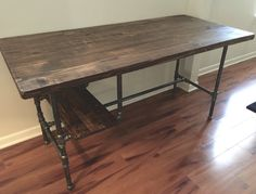 Steel and Wood Desk w/ Shelf Style 2 by SteelandPine on Etsy