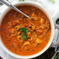 Spinach Tortellini Tomato Soup Gourmet Recipes, Vegetarian Recipes, Cooking Recipes, Healthy Recipes, Meal Recipes, Dinner Recipes, Healthy Foods, Dinner Ideas, Chicken Recipes