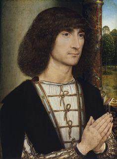 Portrait of a Young Man. c. 1485        Hans Memling ( Oil on oak panel, 29,2 x 22,5 cm, Museo Thyssen-Bornemisza, Madrid ).