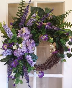 Large front door wreaths, mantel wreaths, fireplace wreaths, purple hydrangea, purple petunia wreaths, all purple wreaths, French country chic