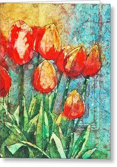 Batik Tulips Greeting Card by Diane Fujimoto
