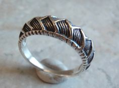 Sterling Silver Ring Puffy Zig Zag Braided Treaded by cutterstone, $35.00