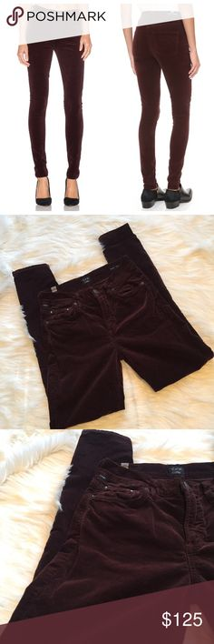🆕 NWOT COH Rocket High Skinny in Borolo Velour Citizens of Humanity. Velveteen high-rise skinnys in barolo (burgundy-ish). Slim, flattering fit that elongated the body. Hold their shape beautifully. New without tags, never worn, only tried on. Non smoking home, no trades, reasonable offers considered. Citizens of Humanity Pants Skinny