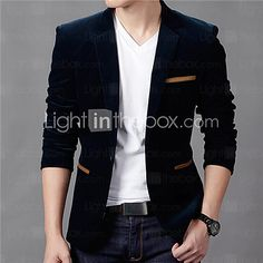 Men's Casual/Daily / Plus Size Vintage Fall / Winter Blazer,Solid Notch Lapel Long Sleeve Blue / Red / Brown Cotton 2017 - $20.89