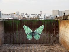 """e-Lepidoptera"" New Street Piece by Parisian Urban Artist Ludo on the streets of Paris, France. 1"