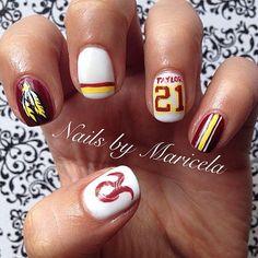 nails with a tribute to Sean Taylor. Chic Nails, Trendy Nails, Swag Nails, Fun Nails, Football Nail Designs, Football Nails, Wedding Day Nails, Feather Nails, Super Cute Nails