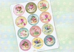 Sweet Tea Cups Micro Slides  Circle Images  by arinaatelierDigital, $4.30