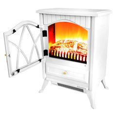 Comfort Smart Jackson Cream Infrared Electric Fireplace Stove with ...