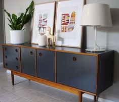 Upcycled 1960s retro teak painted sideboard on painted geometric floor. Description from pinterest.com. I searched for this on bing.com/images