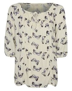 Butterfly Peasant Tie Neck Blouse