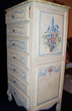 Country French Lingerie Chest - 7 drawer. Hand painted in oil by Tim Moor. Hand carved flowers and lace. Solid wood. Custom available without hand painting. Shipped or can be picked up in Dallas Texas.