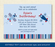 Airplane Birthday Invitation EDITABLE TEXT