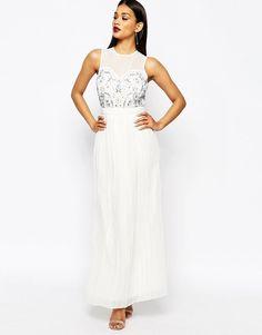 River Island Embellished Bodice Maxi Evening Dress in White UK 14/EU 40/US 10