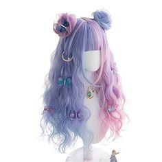 Blue Ombre Wig, Pink Wig, Ombre Wigs, Blue Hair, Cosplay Hair, Cosplay Wigs, Lolita Cosplay, Kawaii Hairstyles, Bun Hairstyles