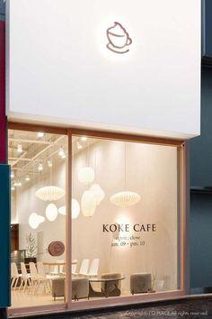 storefront, logo design and branding for a coffee shop. Cafe Shop Design, Coffee Shop Interior Design, Restaurant Interior Design, Store Design, Interior Logo, Small Cafe Design, Color Interior, Interior Shop, Modern Restaurant